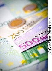 banconote, monete,  closeup,  euro