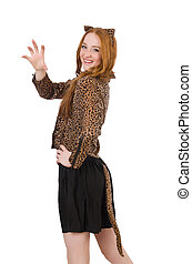 Young lady in leopard blouse isolated on white