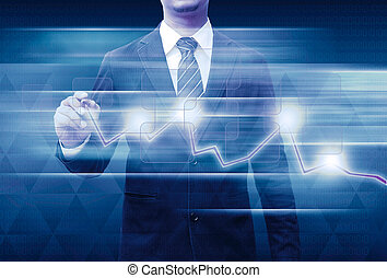 businessman hand drawing business graph