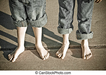 Barefooted Boys - Boys with pants rolled up with bare feet