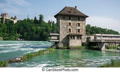 Pan of the Rhine Falls - Panning view of the Rhine Falls,...