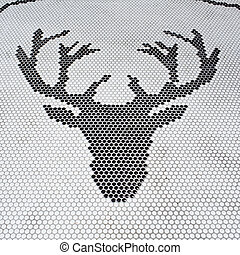 Deer head abstract by tiles isolated on a white backgroun