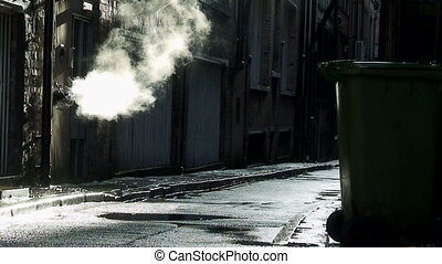 dirty deserted back alleyway 1 - Steam coming from outlet in...