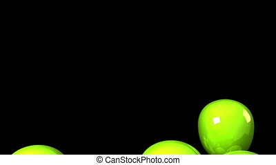 Green Balloons On Black Background.