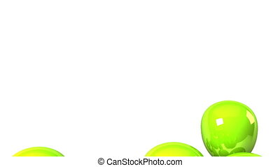 Green Balloons On White Background