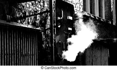 dirty deserted back alleyway 10 - Steam coming from outlet...