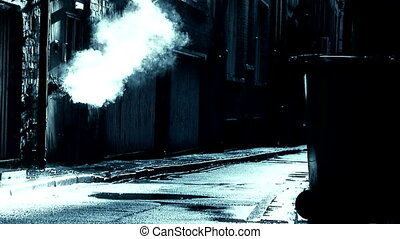 dirty deserted back alleyway slow motion3 - Steam coming...