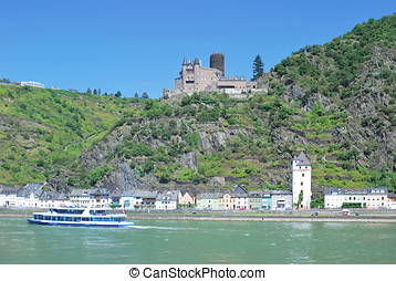 Sankt Goarshausen,Rhine River - Sankt Goarshausen at Rhine...
