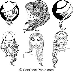 Set of line art portraits - Six young girls with long hair...