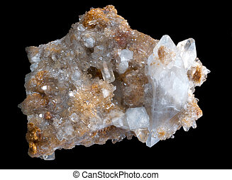 celestine crystal stone in a black isolated background