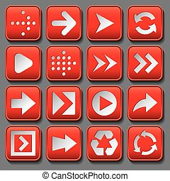 set of stylized buttons with different arrows