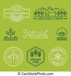 Vector agriculture and organic farm line logos - set of...