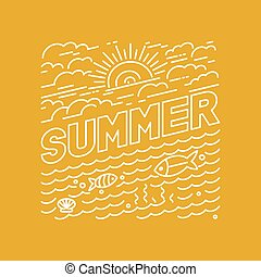 Vector summer poster and banner design in trendy linear...
