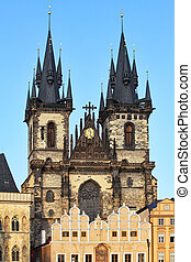 Church of Our Lady before Tyn, Prague old town, Czech...