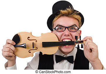 Funny violin player isolated on white - Funny violin player...