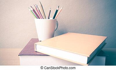 färg, blyertspenna, bok,  stack