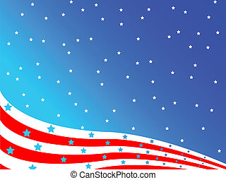 stylized american flag, vector art illustration; easy to...