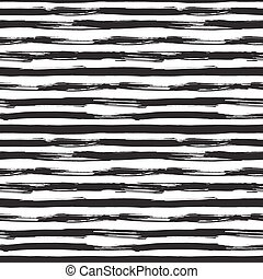 Vector seamless pattern with black brush strokes. Monochrome...