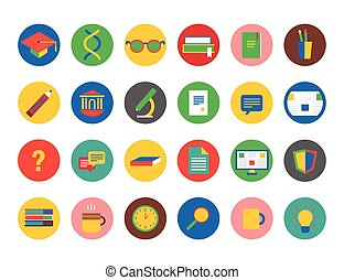 Education vector icons set. Education, students or school...