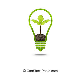 Light Bulb with sprout inside. Light Bulb with soil and...