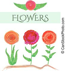 Illustrated set of three abstract flowers on a white background. Watercolors vector graphic concept for different use.