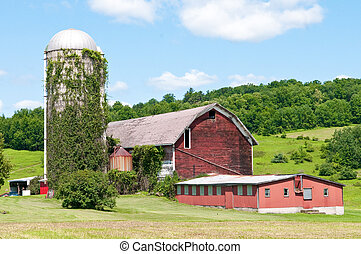 Rustic red barn during Spring in New York - Old red barn in...