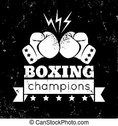 logo for a boxing - Vintage logo for a boxing on grunge...