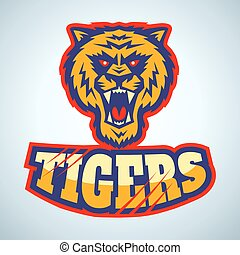 logo with angry tiger - Sport logo with angry tiger head