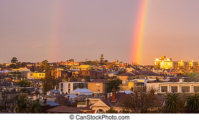 Melbourne inner city suburb with rainbow - Close up of a...