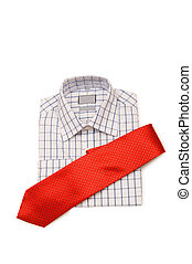 Shirt and tie isolated on the white background