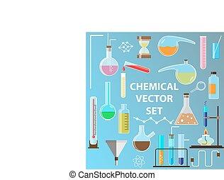 plano, Conjunto, objetos, frascos, laboratorio, química,...