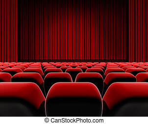 Cinema or theater screen seats. - Cinema or theater screen,...