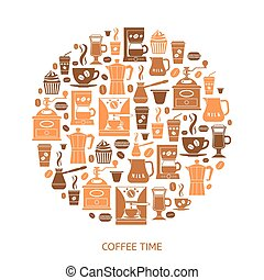 Coffee icons set in minimalistic style Flat coffee icons...
