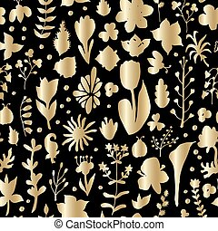 Floral spring gold seamless pattern