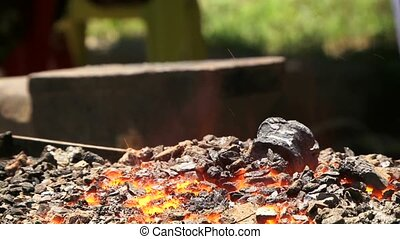 Burning Coal In The Forge - Blacksmith forged iron...