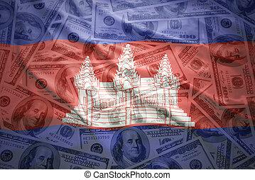 kleurrijke, zwaaiende, Cambodian, vlag, op, Een, amerikaan,...