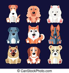 Breeds of Dogs Icons. Vector Illustration. - Set of flat...
