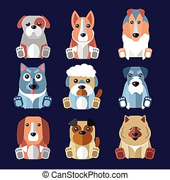 Breeds of Dogs Icons Vector Illustration - Set of flat...