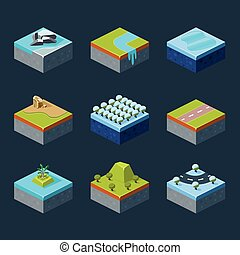 Vector of Isometric Landscape set