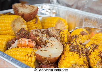 Low Country Boil - A traditional low country boil with red...