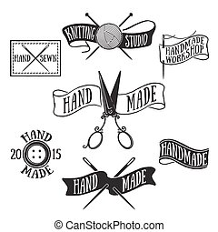 Handmade labels - Hand drawn set of vintage handmade labels...