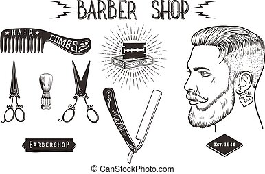 Barber shop vintage set - Set of Hipster Barber Shop design...