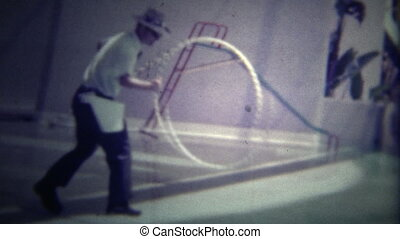 MIAMI, USA -1951: Seal jumping through hoop - Original...