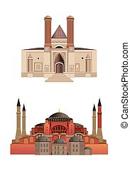 Architecture - Old architecture illustrations, isolated on...