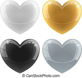 Glossy hearts vector set with color variants – white, black, gold, silver.