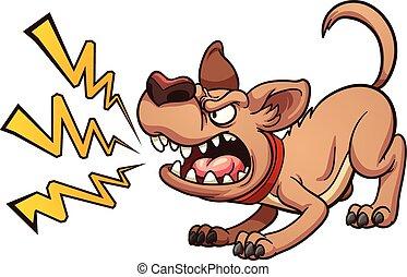 Barking dog - Cartoon barking dog. Vector clip art...