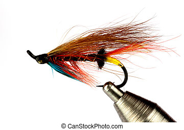 Salmon Fishing Fly on Fly Tying Vise Isolated on White - A...