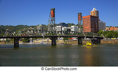 Hawthorne Bridge Over Willamette River in Portland, Oregon