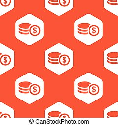 Orange hexagon dollar rouleau pattern - Image of dollar...
