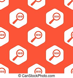Orange hexagon SEO search pattern - Text SEO under loupe in...